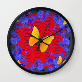 Red & Blue Yellow Butterflies Abstract Wall Clock