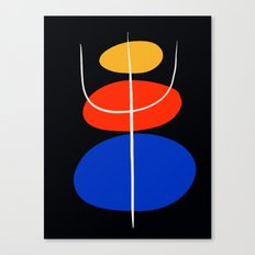 Abstract black minimal art with red yellow and blue Canvas Print