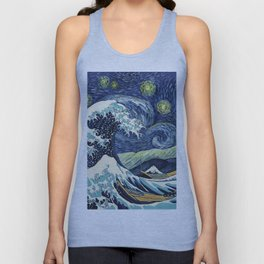 The Great Wave of Pug Starry Night Unisex Tank Top