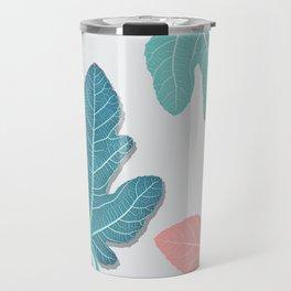 Colored Fig Tree Leaves Travel Mug