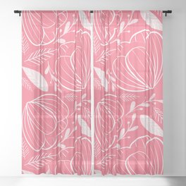 White Flowers Pattern Sheer Curtain