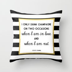 Coco Gold Champagne in love quote Throw Pillow