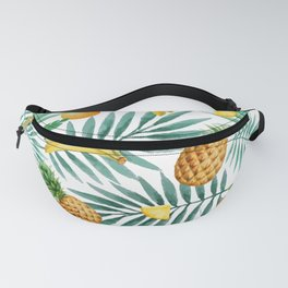 Tropical fruits. Banana, pineapple, palm leaves, coconut. Vintage watercolor hand painted illustration pattern. Fanny Pack
