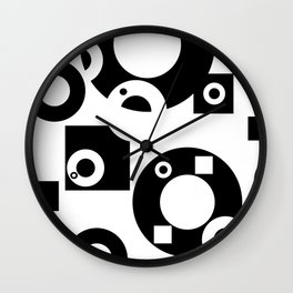 Black& White Rings Rectangle Wall Clock