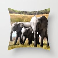 elephants Throw Pillows featuring Elephants by Regan's World