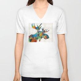 Colorful Moose Art - Confetti - By Sharon Cummings Unisex V-Neck