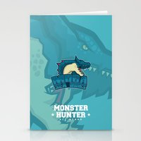 monster hunter Stationery Cards featuring Monster Hunter All Stars - Moga Sea Dogs by Bleached ink