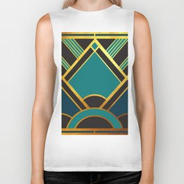 Art Deco New Tomorrow In Turquoise Biker Tank