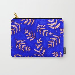 Royal Blue and Peach Fern Print Carry-All Pouch