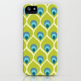 Modern Peacock Feather Blue Green Abstract Pattern iPhone Case