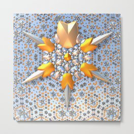 Silver Stars and Flowers Metal Print