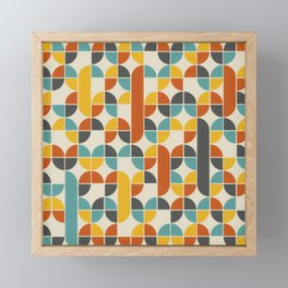 1970s Colors Mid Century Modern Geometric Pattern  Framed Mini Art Print