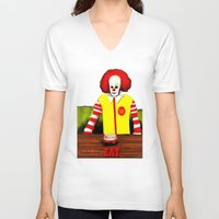 eat V-neck T-shirts featuring EAT by Dano77