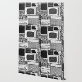 Vhs Tapes and Vinyl Collection with TV Glitch Wallpaper