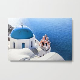 Blue and white church in Oia village, Santorini, Greece Metal Print