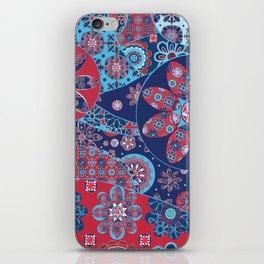 Dhalia Red and Blue iPhone Skin