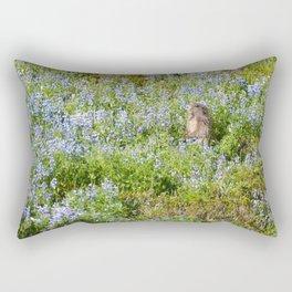 Marmot and wild flowers at Mount Rainier Rectangular Pillow