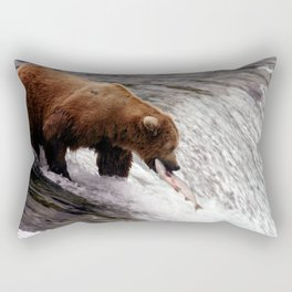 Bear Catching Salmon - Wildlife Photography Rectangular Pillow
