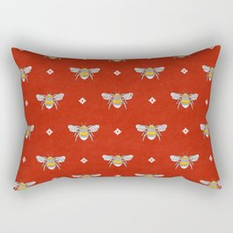 Bumblebee Stamp on Red Rectangular Pillow