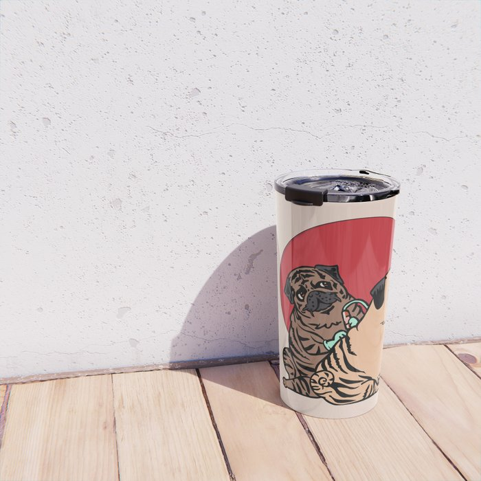 The Making of a Brindle Pug Travel Mug