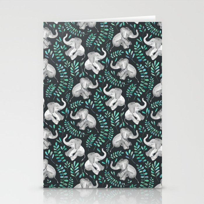 Laughing Baby Elephants – emerald and turquoise Stationery Cards
