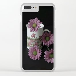 Flowery Teacup Clear iPhone Case