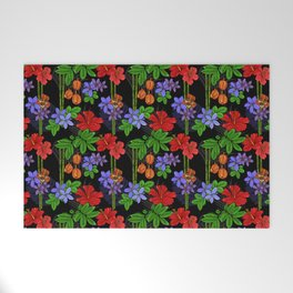 Jamaican Flowers and Fruits Tropical Pattern Welcome Mat