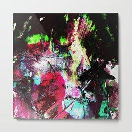Black and Neon Abstract Metal Print