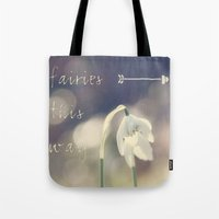 fairies Tote Bags featuring Fairies this way by UtArt