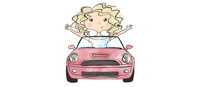 Girl Driving A Car Coffee Mug