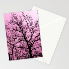 Pink sky over a haunting naked tree Stationery Cards