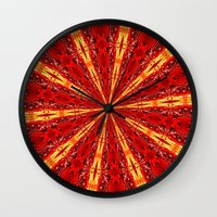 novelty Wall Clocks featuring FALL KALEIDOSCOPE  by Teresa Chipperfield Studios