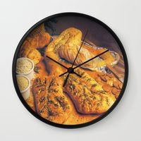 bread Wall Clocks featuring Bread by Richard McGee