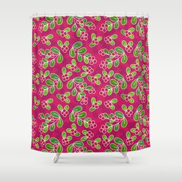 Cranberry Fruit Pattern On Fuchsia Shower Curtain