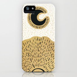 Sun and Moon Relationship // Cosmic Rays of Black with Gold Speckle Stars Cool Minimal Digital Drawn iPhone Case