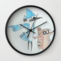 regular show Wall Clocks featuring The Regular Show 'OOHHHH'  by Renatta Maniski-Luke