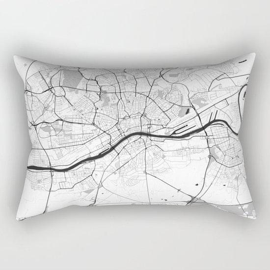 Frankfurt City Map Gray Rectangular Pillow
