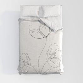 Poppies Minimal Line Art Comforters