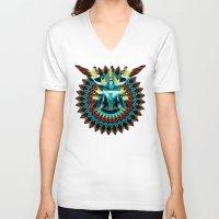 metropolis V-neck T-shirts featuring METROPOLIS by Tia Hank
