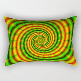 Double Spiral in Green and Orange Rectangular Pillow