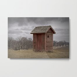 Vintage Outhouse behind a Historical Country School in Southwest Michigan Metal Print