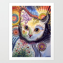 Lucy ... Abstract cat pet animal art Art Print