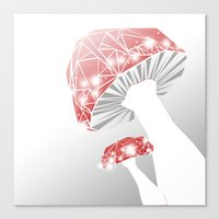 mushrooms Canvas Prints featuring MUSHROOMS by ARCHIGRAF