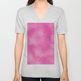 Abstract bright pink white hand painted watercolor Unisex V-Neck