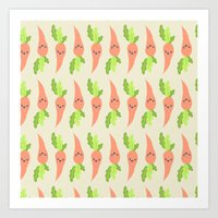 vegetable Art Prints featuring VEGETABLE-CARROTS! by Claudia Ramos Designs