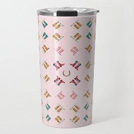 boots all over pink Travel Mug