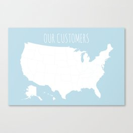 Our Customers USA Map in Light Blue Canvas Print