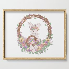 Easter Bunny Floral Wreath Serving Tray