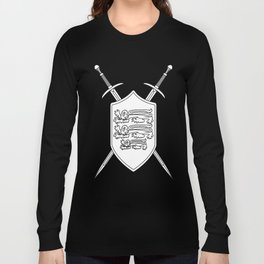 Crossed Swords and Shield Outline Long Sleeve T-shirt
