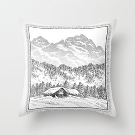 SNOWED IN PEN DRAWING Throw Pillow
